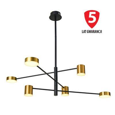 Żyrandol LED Italux PND-16374-6 BK+GD Remdal