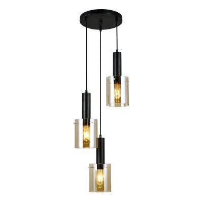 Lampa wisząca Italux PND-5581-3A-BKAMB Sardo