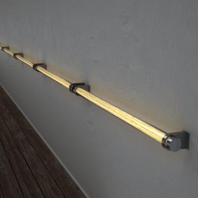 Poręcz podświetlana LED Wooden REED Birch Stal nierdzewna Wi-fi Control