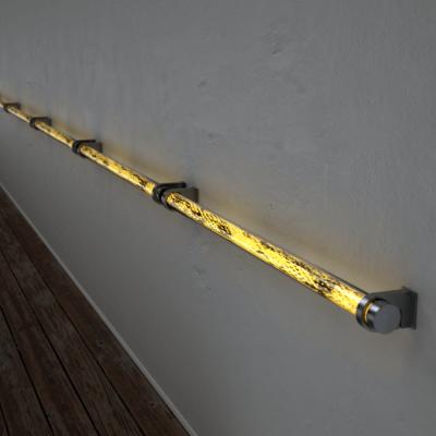 Poręcz podświetlana LED Wooden REED Bircheye Stal nierdzewna Wi-fi Control