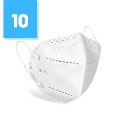 Zestaw 10 szt. - Maski ochronne na twarz KN95 FFP2 zabezpieczające z elastycznymi gumkami