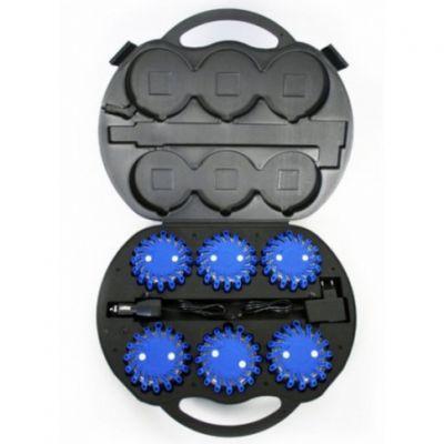 Zestaw 6 x Dysk do sygnalizacji Mactronic niebieski + walizka