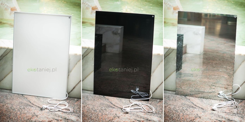 Panele: białe aluminium, czarny szklany, lustrzany